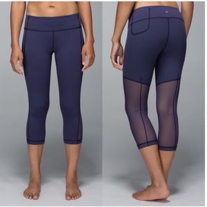 Lululemon Breathe Easy blue crop mesh leggings